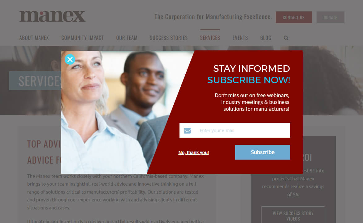 Example of newsletter signup exit popup for Manex Consulting
