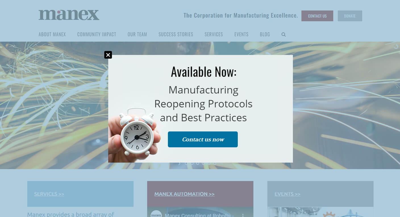 Screenshot of Manex website back to business alert popup