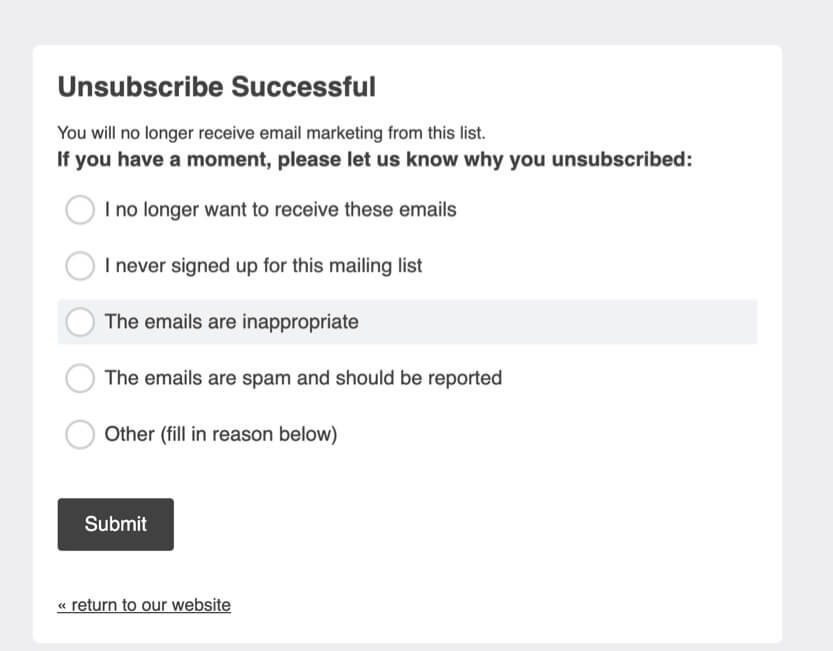unsubscribe survey