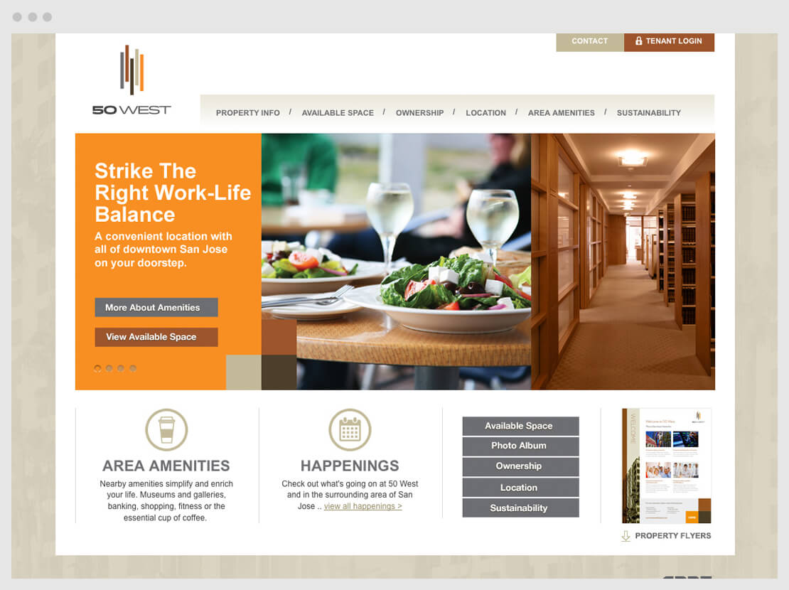 web page of dinning scene on custom website design