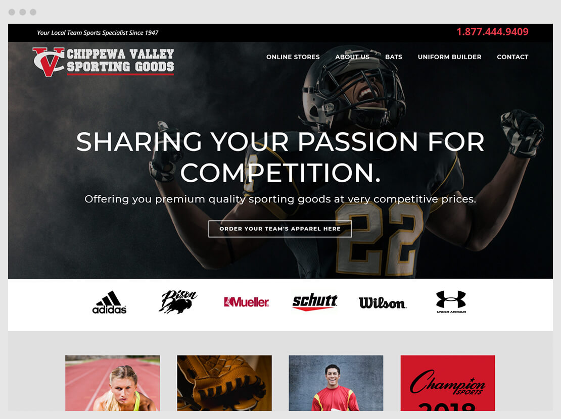 football player cheering, home page of ecommerce web design for sporting goods