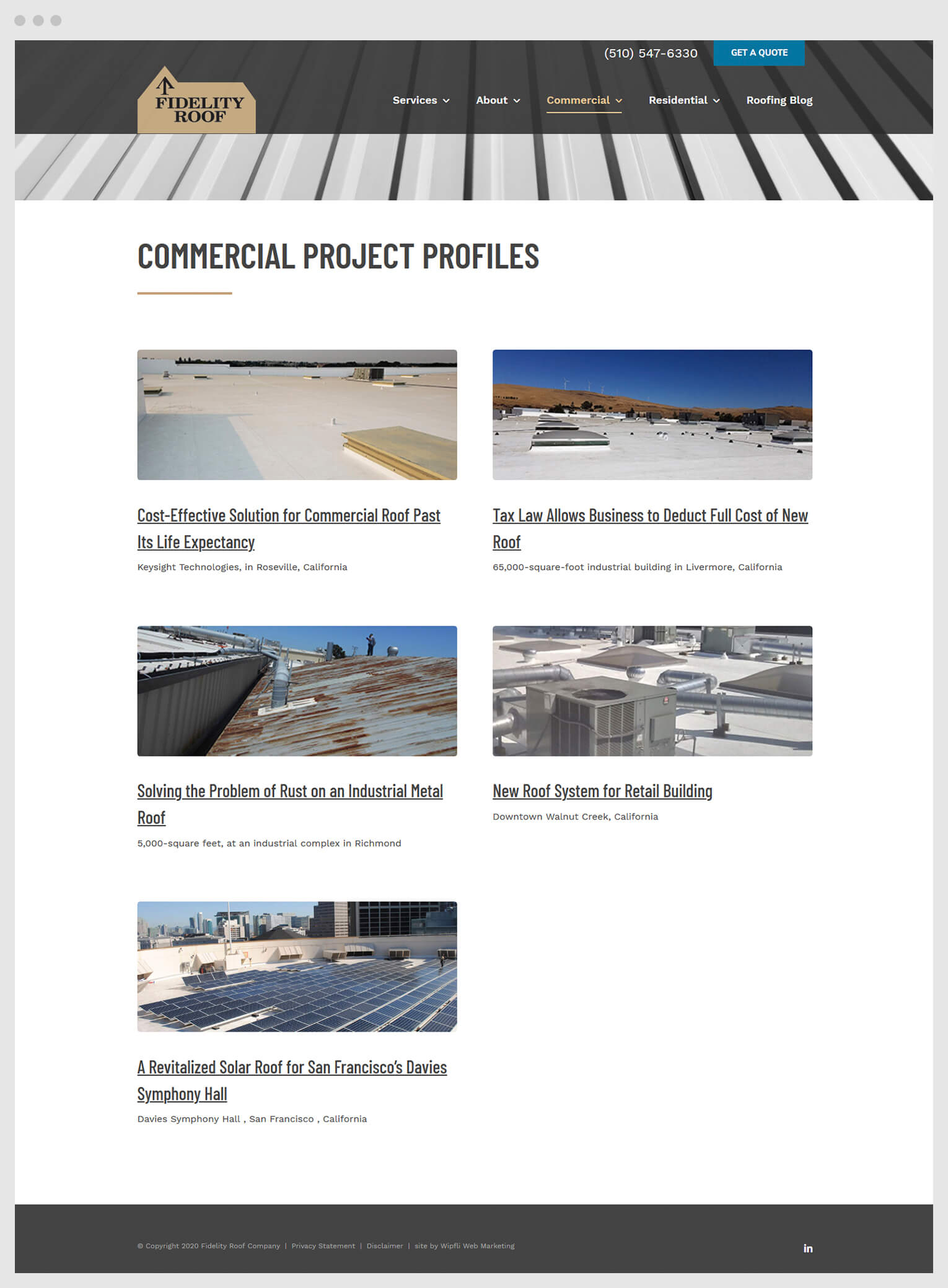 Screenshot of the Fidelity Roof commercial case study page