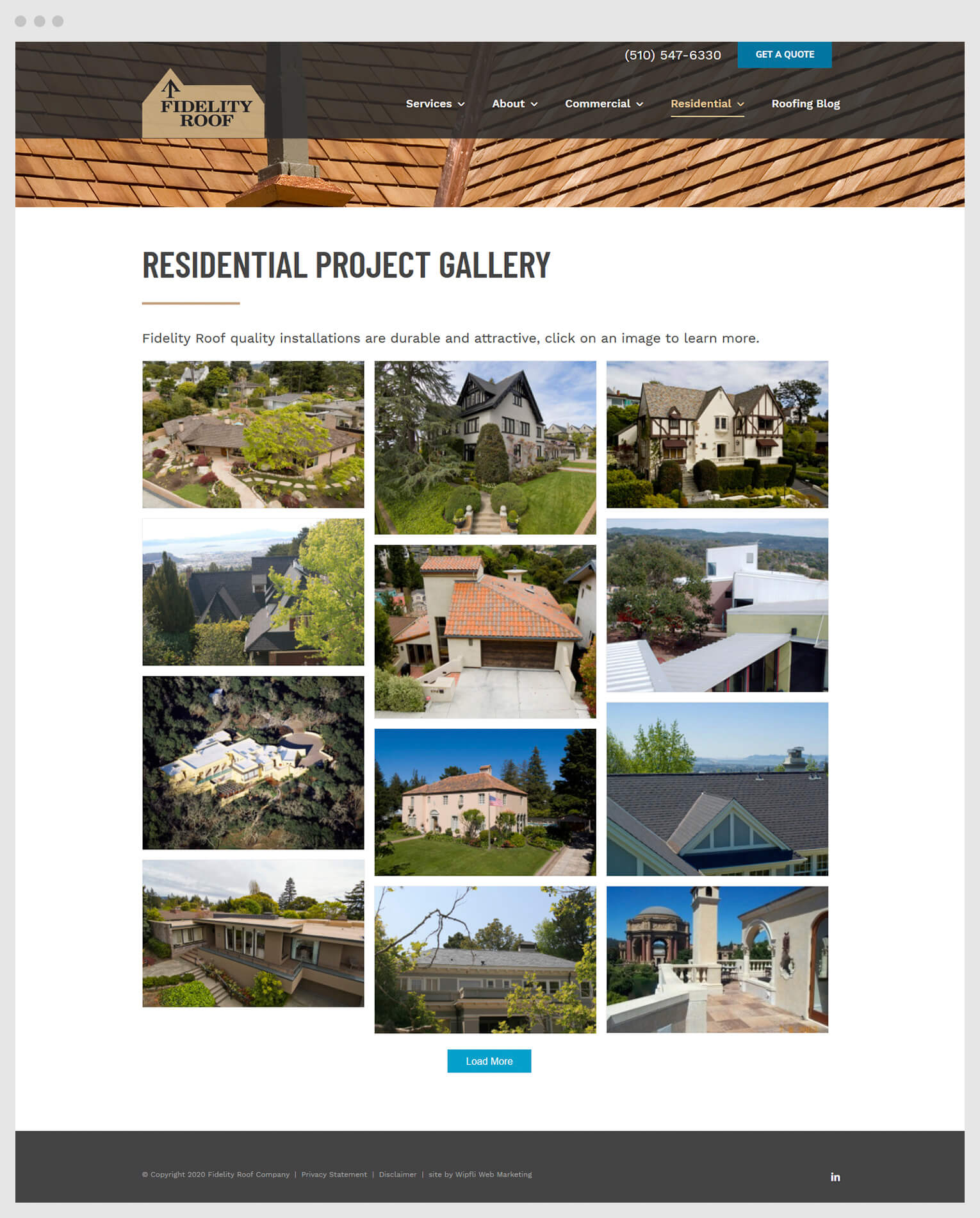 Screenshot of the Fidelity Roof gallery page