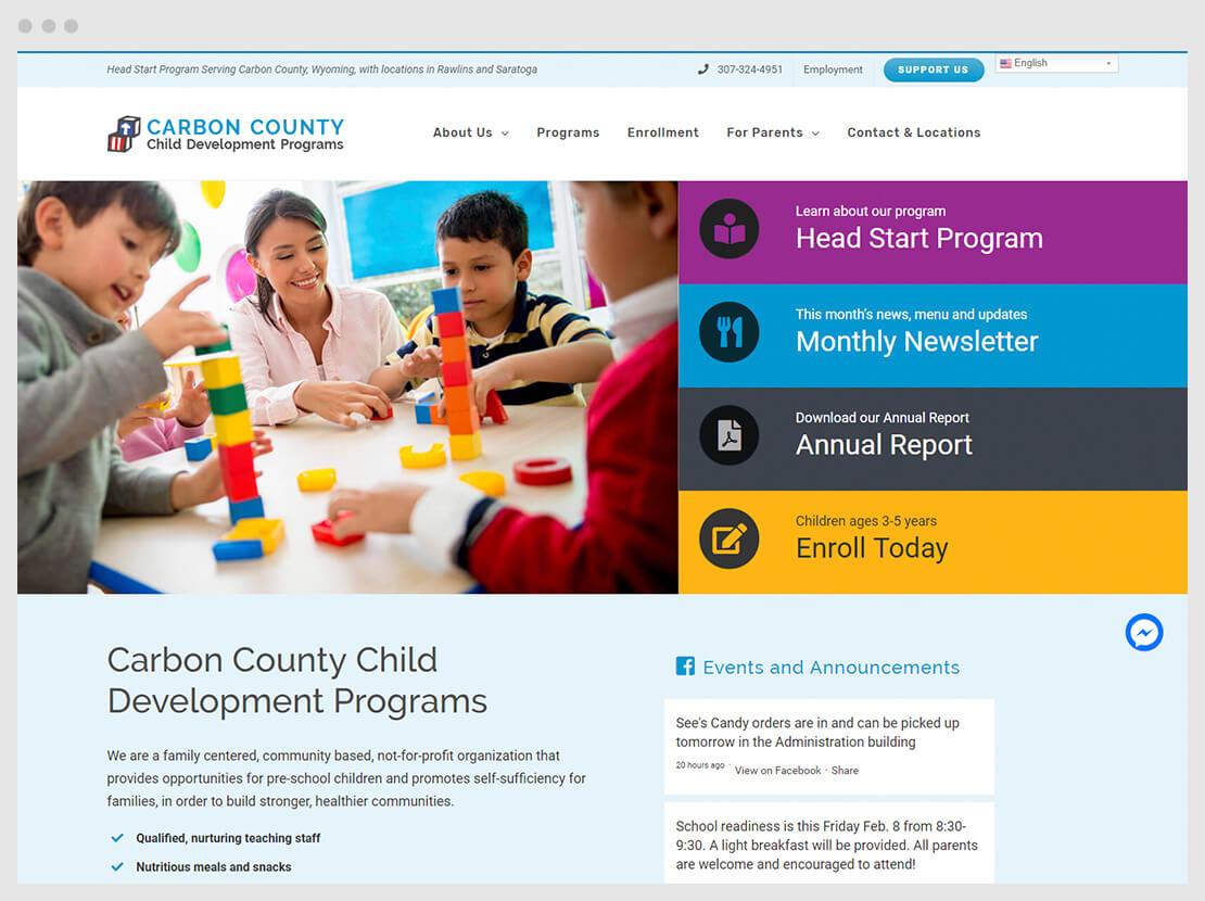 Head Start Website with Facebook Integration including